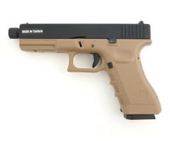 Страйкбольный пистолет KJW Glock G17 TBC CO₂ Tan, удлин. ствол