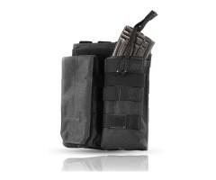Подсумок Wartech MP-116 под 2 магазина АК/М серии, клапан/резинка (черный)