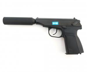Страйкбольный пистолет WE Makarov 654K Black, с глушителем (WE-MA001-BK)