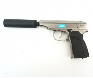Страйкбольный пистолет WE Makarov 654K Silver, с глушителем (WE-MA001-SV)