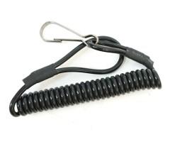 Шнур страховочный витой (пластик) карабин-кольцо, черный