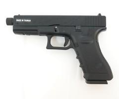 Страйкбольный пистолет KJW Glock G17 TBC Gas Black, удлин. ствол