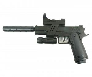 Страйкбольный пистолет Galaxy G.053A (Colt 1911) с ЛЦУ и глушителем