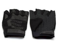 Перчатки тактические Adventure укороченные прорезиненные (черные)