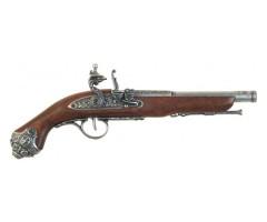 Макет пистолет кремневый, никель (XVIII век) DE-1077-G