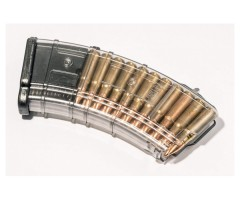 Магазин Pufgun на ВПО-136/АК/АКМ/Сайга (с сухарем) 7,62x39, 20 патронов (прозрачный)