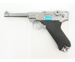 """Страйкбольный пистолет WE Luger P08 4"""" Silver (WE-P004)"""