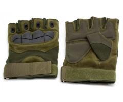 Перчатки тактические Стикхант укороченные прорезиненные, кастет (хаки)