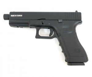 Страйкбольный пистолет KJW Glock G17 TBC CO₂ Black, удлин. ствол