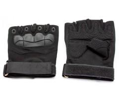 Перчатки тактические Стикхант укороченные прорезиненные, кастет (черные)