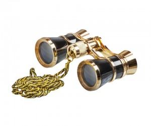 Бинокль театральный Veber Opera БГЦ 3x25 черный/золотой, с цепочкой