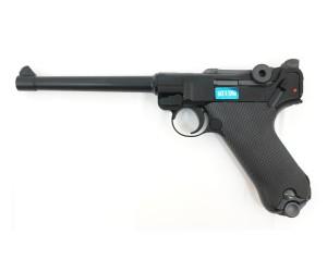 """Страйкбольный пистолет WE Luger P08 6"""" Black (WE-P002)"""