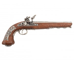 Макет пистолет дуэльный мастера Буте, никель (Франция, 1810 г.) DE-1084-NQ