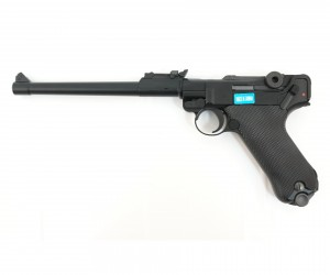 """Страйкбольный пистолет WE Luger P08 8"""" Black (WE-P003)"""