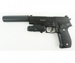 Страйкбольный пистолет Galaxy G.26A (Sig Sauer 226) с ЛЦУ и глушителем