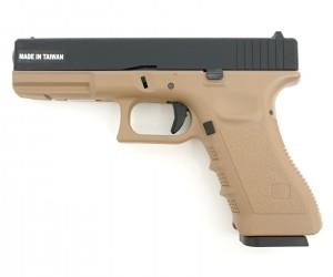 Страйкбольный пистолет KJW Glock G17 CO₂ GBB Tan (KP-17.CO2-TAN)