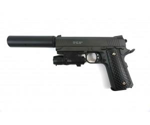 Страйкбольный пистолет Galaxy G.25A (Colt 1911 Rail) с ЛЦУ и глушителем