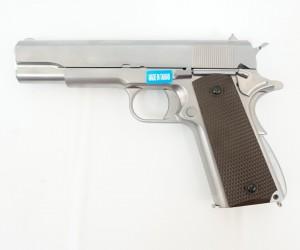 Страйкбольный пистолет WE Colt M1911A1, хром., коричн. накладки (WE-E006A)