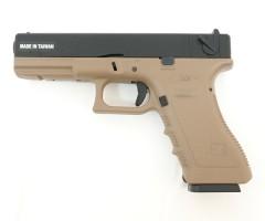 Страйкбольный пистолет KJW Glock G18 Gas GBB Tan (KP-18-TAN)