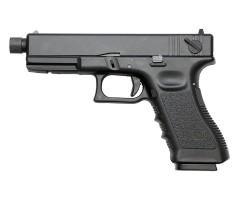Страйкбольный пистолет KJW Glock G18 TBC CO₂ Black, удлин. ствол