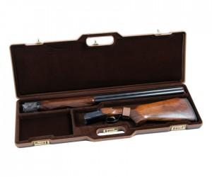 Кейс Negrini для гладкоствольного оружия темно-коричневый, кожаная отделка, вельвет внутри, код. замки, стволы до 940 мм