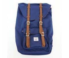 Рюкзак Herschel Little America Backpack 17L, синий с коричневыми пряжками