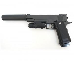 Страйкбольный пистолет Galaxy G.6A (Colt Hi-Capa) с глушителем и ЛЦУ