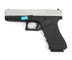 Страйкбольный пистолет WE Glock-17 Gen.4 Silver, сменные накладки (WE-G001B-SV)