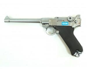 """Страйкбольный пистолет WE Luger P08 6"""" Silver (WE-P005)"""