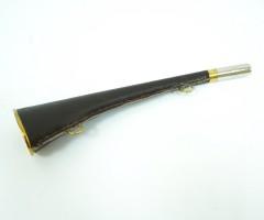 Горн охотничий (кожаная отделка) 25 см, плоский, темно-коричневый