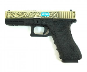 Страйкбольный пистолет WE Glock-17 Gen.3 Bronze, с гравировкой (WE-G001BOX-BR)