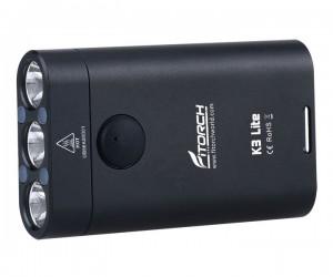 Фонарь-брелок FiTorch K3 Lite (USB зарядка, 3 светодиода, 550 лм) черный