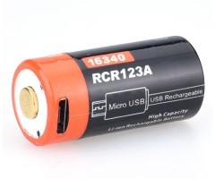 Аккумулятор 16340 FiTorch (650 mAh) с зарядкой USB