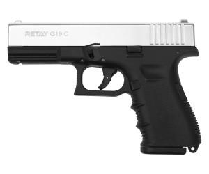 Охолощенный СХП пистолет Retay G19C (Glock) 9mm P.A.K, никель