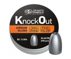Пули полнотелые JSB KnockOut Slugs 5,5 мм, 1,645 г (200 штук)