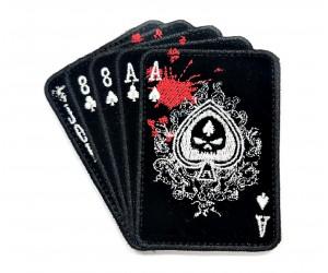 Шеврон Колода карт с черепом (черная) бархат