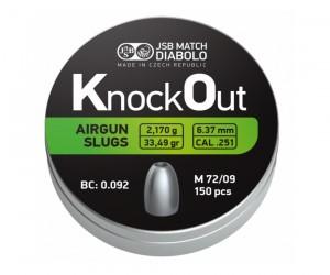 Пули полнотелые JSB KnockOut Slugs 6,35 мм, 2,170 г (150 штук)