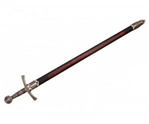 Средневековый меч (Франция, XIV век) металл.  рукоять, пластик. ножны, черные с красным (DE-6201)