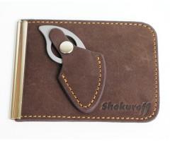 Зажим для купюр с ножом Shokuroff EDC «Коготь» (коричневый)