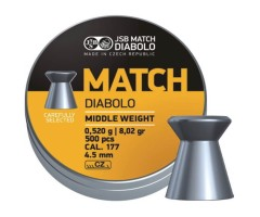 Пули JSB Yellow Match Diabolo Middle 4,5 мм, 0,52 грамм, 500 штук