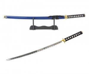Самурайский меч Катана (синие ножны, гарда «золотое солнце») D-50044-KA-GLD