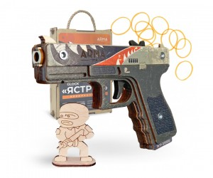 Резинкострел ARMA макет пистолета Glock из игры CS:GO в скине «Ястреб»