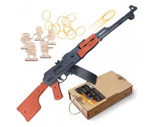 Резинкострел ARMA макет РПК с диск. магазином, сошками и съемным прикладом