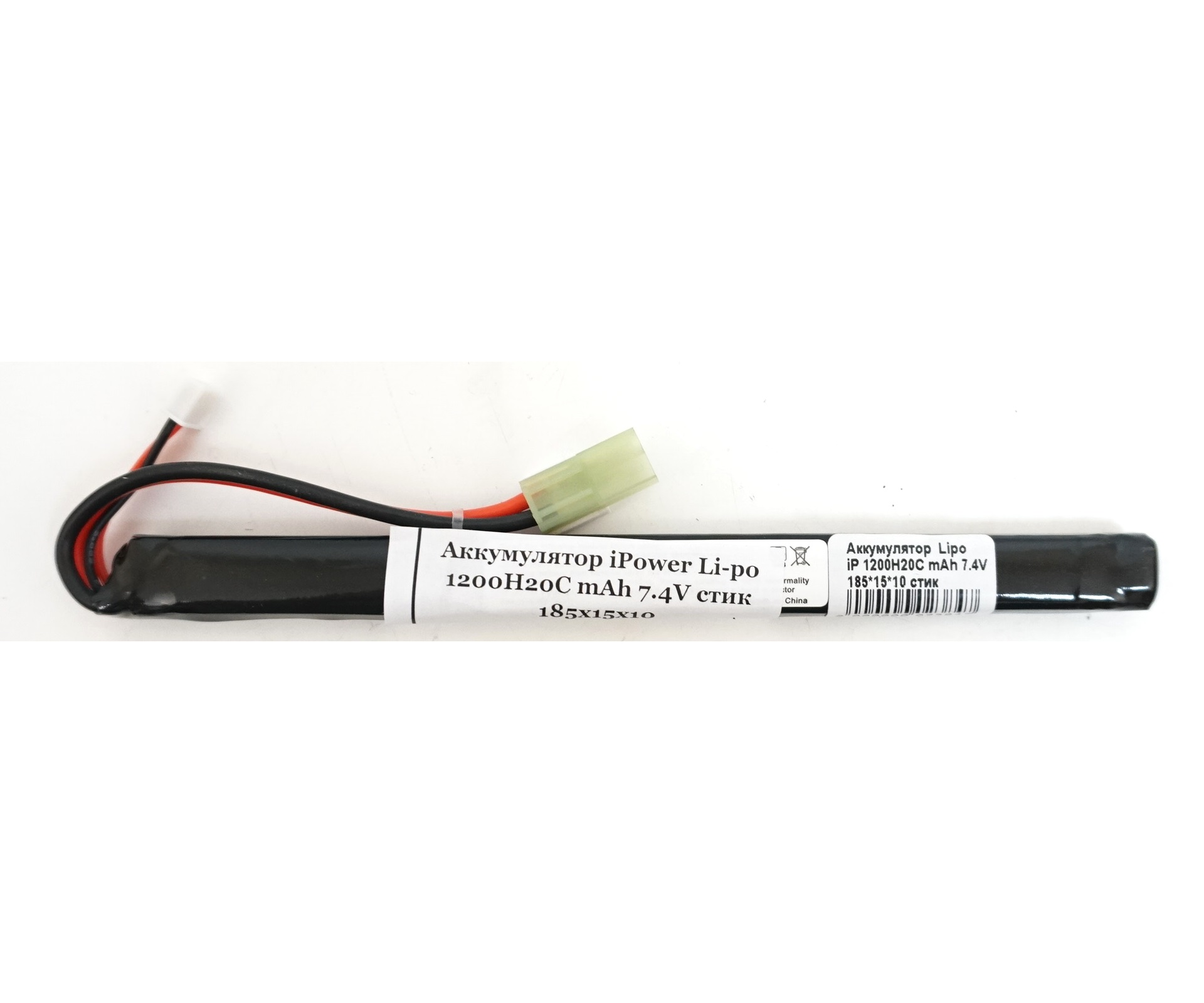 Аккумулятор iPower Li-po 7.4V 1200mAh 20C, 185x15x10 мм (стик)