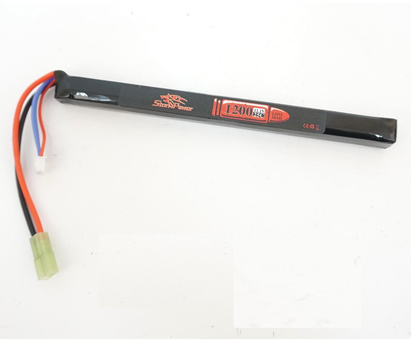 Аккумулятор Storm Power Li-Po 11.1V 1200mah 25C, 185x14x15 мм (SP-019)