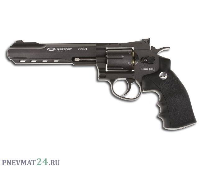 Пневматический револьвер Gletcher SW R6, пулевой (6