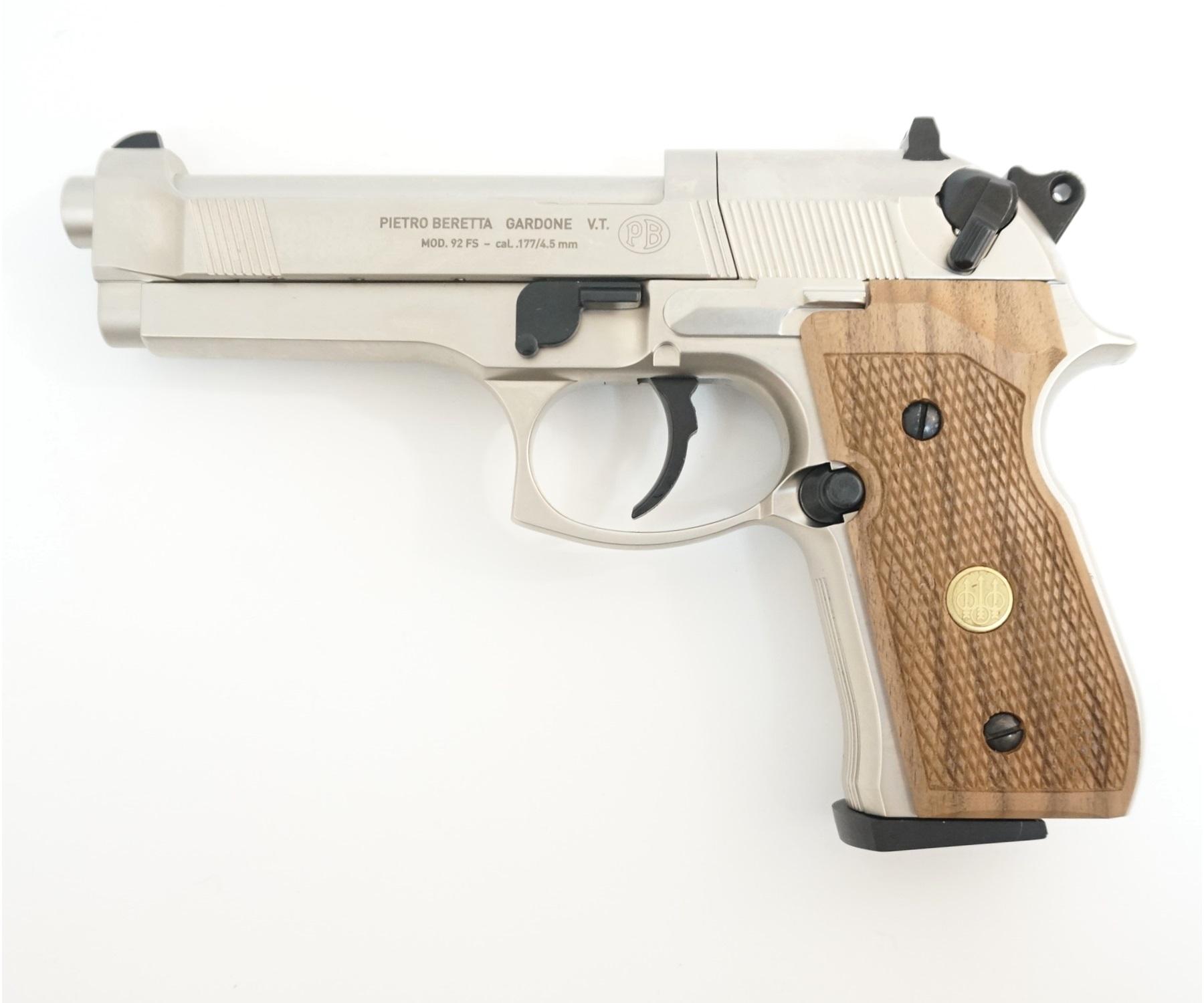 Пневматический пистолет Umarex Beretta M92 FS (никель, дерево)