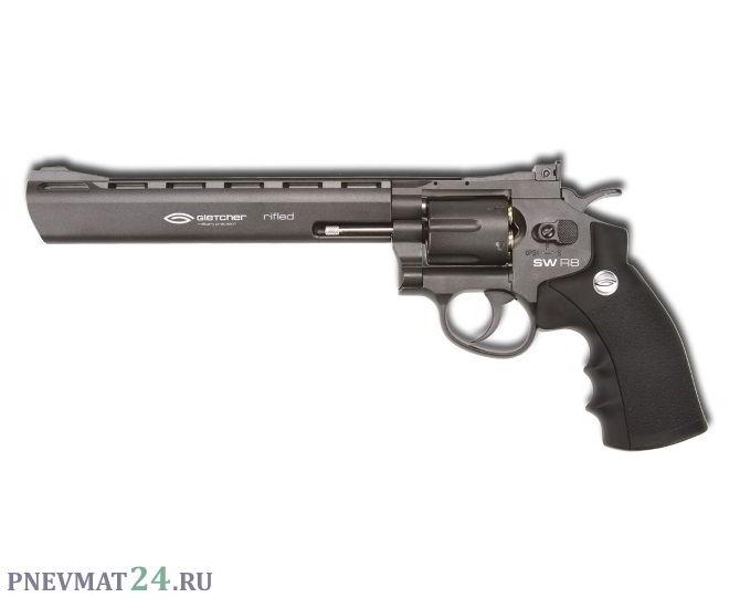 Пневматический револьвер Gletcher SW R8, пулевой (8