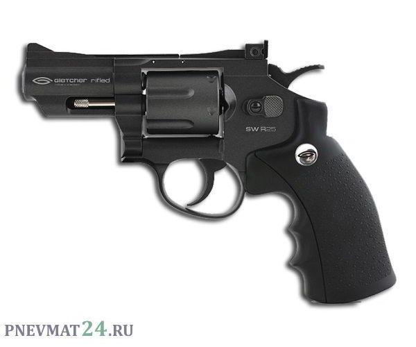 Пневматический револьвер Gletcher SW R25, пулевой (2,5