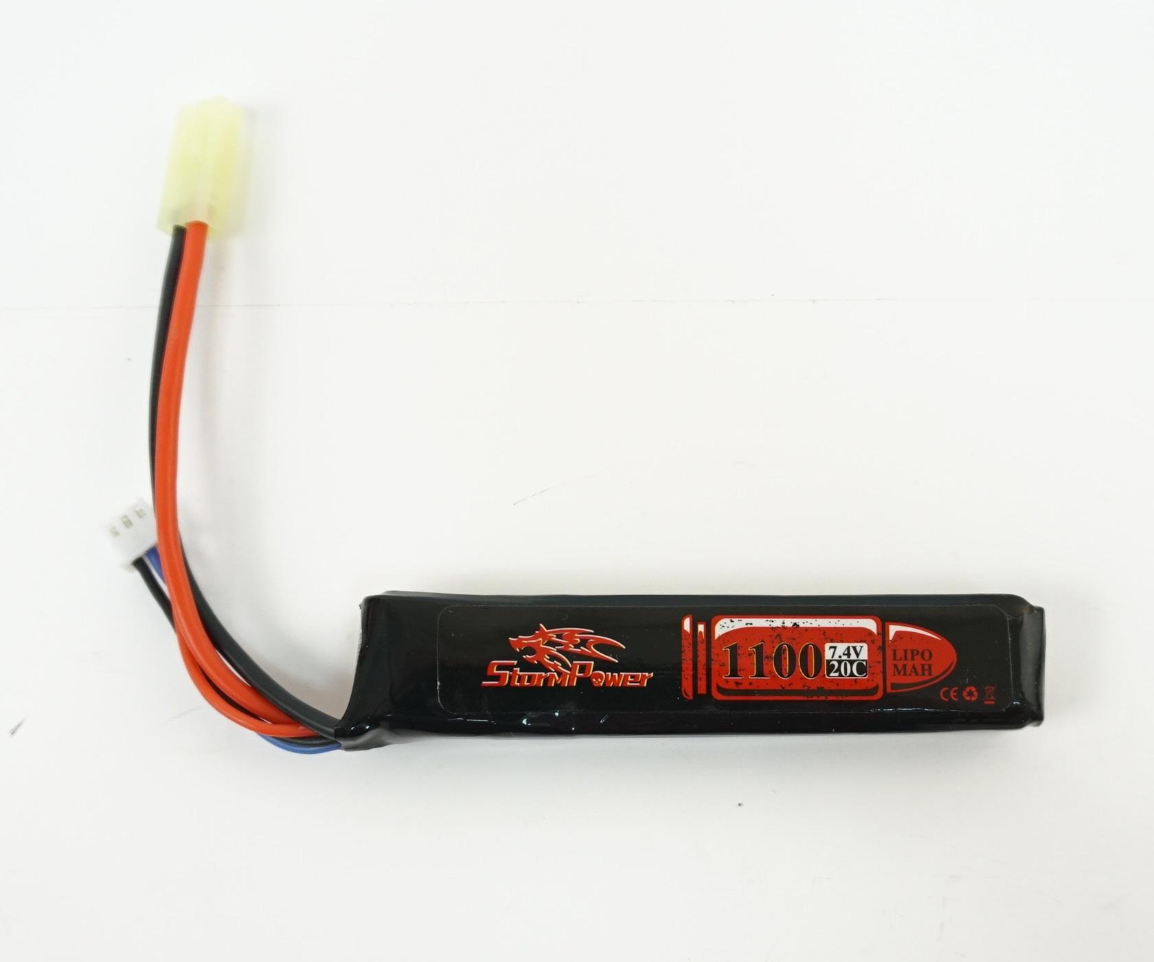 Аккумулятор Storm Power Li-Po 7.4V 1100mah 20C, 101x20x13 мм (SP-010)